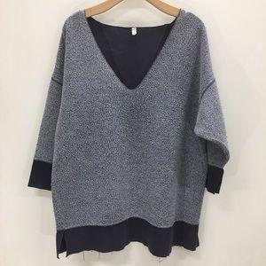Free People Oversized 3/4 Sleeve Sweater; XS